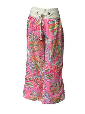 Lilly Pulitzer The Beach Pant XS 100% Linen Women Wide Leg Drawstring Waist