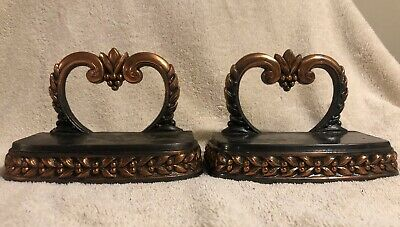 """Vintage Antique Old Cast Brass Iron Bookends Flowers Berries Heart Grapes 4"""""""