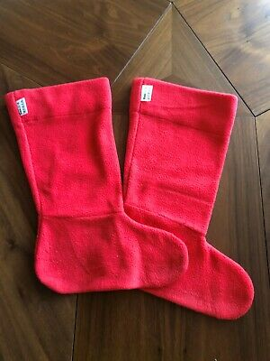 Town And Country Wellington Boot Liner Socks Fleece Childs Shoe Size 1 - 3 Red