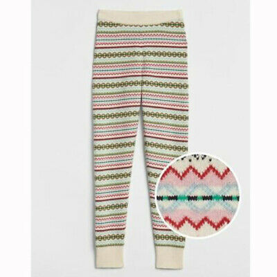 NEW GAP Kids Girls Crazy Fair Isle Stripe Sweater Knit Leggings Pants Jogger M L