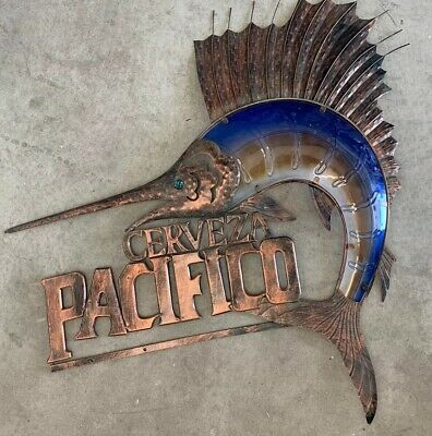 Pacifico Beer Stained Glass Marlin Fish Metal sign 3 Feet