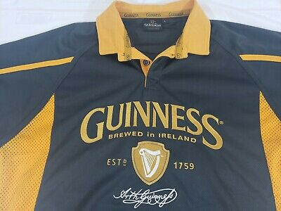 Guinness Dublin Performance Rugby Mens Irish Ireland Embroidered Jersey Polo NEW