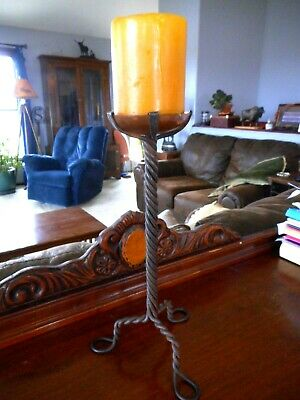Arts & Crafts Style Mission Copper w twisting metal 3 foot Candle Holder Forged?
