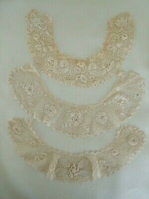 Lot 3 Irish Lace ladies collars 3D floral hand made
