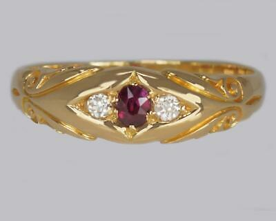 Antique 18ct Gold Ruby & Old Cut Diamond Ring Victorian Trilogy Ring Circa 1900