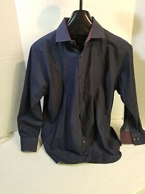 EUC Mens TED BAKER Endurance Classic Fit 16.5 Navy Long Sleeve Button Down Shirt