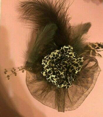 Retro Leopard Satin Flower Tulle & Feathers Gold Stamen Anywhere Clip Fascinator