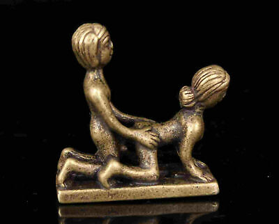 China Old Collection Bronze Male And Female Statue Decorated Tabletop