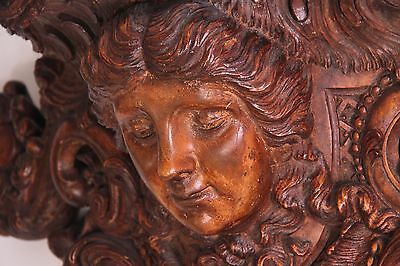 19C Venetian Carved Walnut Mythological Nymph Figural Wall Shelf