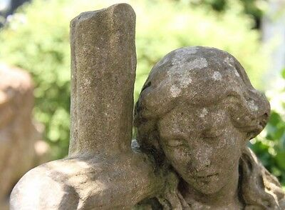 19C French Carved Stone Garden Statue Cross/Woman Mourning