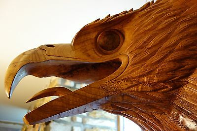 One-of-a-Kind Huge Hand-Carved Head Eagle/Griffin/Gargoyle/Dragon/Grotesque