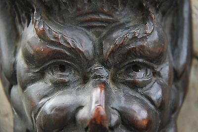 19C French Carved Walnut Horned Devil/Demon/Satyr Corbels/Pilasters