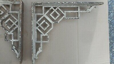 Pair of vintage cast iron art deco shelf brackets   12' x 10""