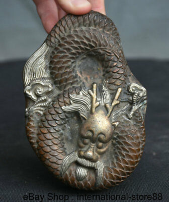 """5.2"""" Old Chinese Red Copper Silver Palace Dragon Loong Lucky Inkstone ink-slab"""