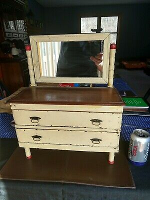 ANTIQUE PRIMITIVE  WOOD DRESSER w MIRROR Original paint and pulls from 1920s