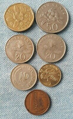 7 - Singapore One Dollar, 50 Cents Twenty Cents, Ten Cents, Five Cents, One Cent