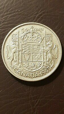 1947 Curved 7 Canada Silver 50 Cents George VI Fifty Cent Half Dollar Coin