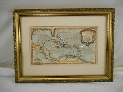 COA ~ C. 1760 Carte du Golfe du Mexique Map ( Bonne Rigobert~ Paris ) Very Rare