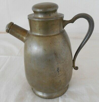 """Early Antique Primitive Pewter Water Pitcher ( Ray Silver Co ) 7 3/4"""" Tall # 133"""