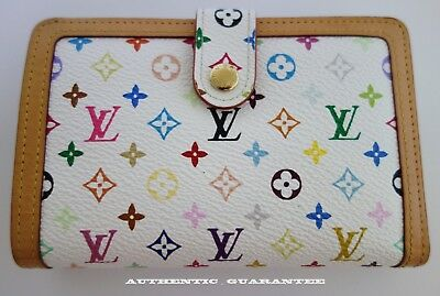 AUTHENTIC LOUIS VUITTON white Multicolor French Wallet Great condition