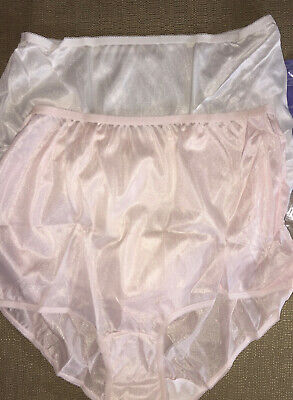 "(2) Vintage ENCOUNTERS Size 12 USA Made Nylon Full Rise Panties Briefs (40""-42"")"