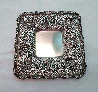 """S. Kirk & Son 6-3/4"""" Square Sterling Silver Repousse Ink Well Tray"""
