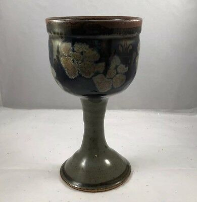 MARY HUMPHREY Handcrafted Michigan Clay Pottery Goblet Challis Signed