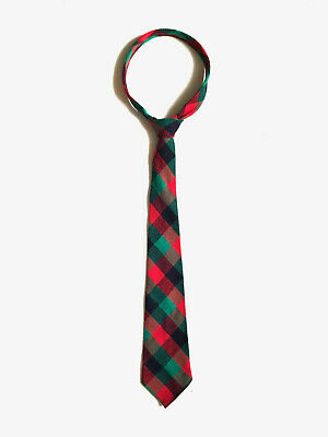 Vintage 1950s mens woven red and green plaid tie