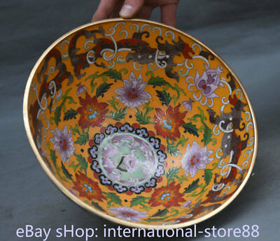 """8.8"""" Marked Old Chinese Copper Cloisonne Dynasty Palace Peony Flower Bowl"""