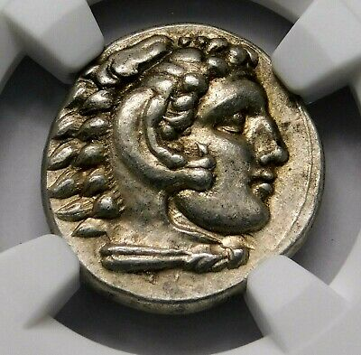 NGC AU 5/5-4/5. Alexander the Great. Lifetime Issue Drachm. Greek Silver Coin.
