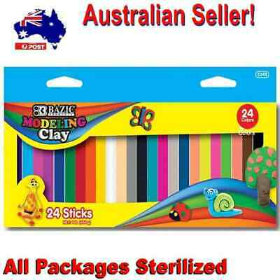 24 Kids Soft Clay Modelling Sticks DIY Molding Craft Clay 24 Colours Non Drying