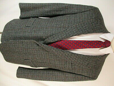 Brooks Brothers Mens Charcoal Houndstooth 2 Btn Tweed Blazer 43R USA Made