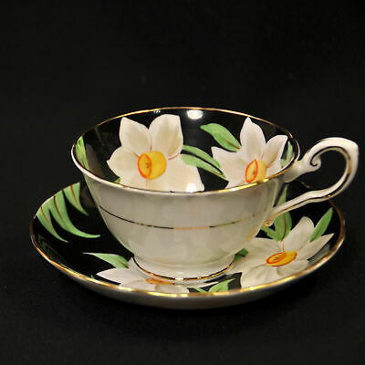 Plant Tuscan Cup & Saucer 1947-1960 Daffodils #C9259 White Yellow Black w/Gold