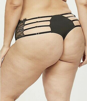Lane Bryant CACIQUE Black Lace Wide-side Thong Panty - Hot Sexy - 18/20
