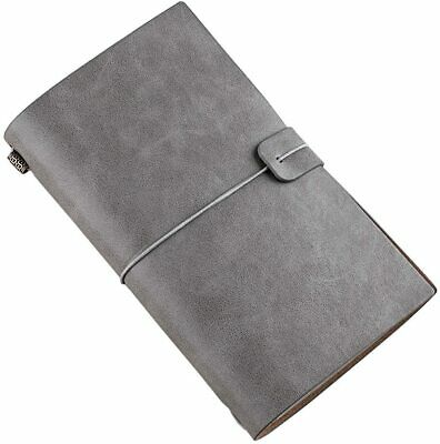 Handmade Leather Notebook Refillable Travel Journal with 18 Card Slots