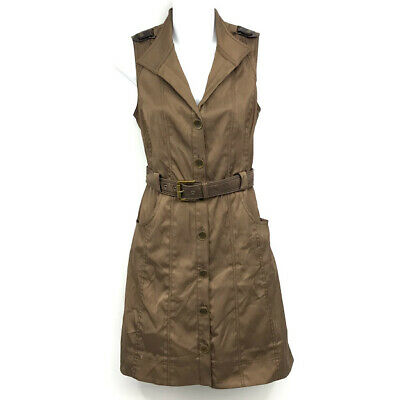 Cache Tank Dress 4 Button Front Belted Military Style Sleeveless Stretch Cotton