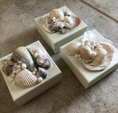 Unique Handmade Gift Boxes Set Of 3 Beach Sea Shell Craft Trinket Jewelry Square