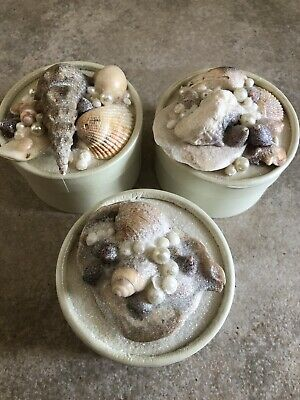 Unique Handmade Gift Boxes Set Of 3 Beach Sea Shell Craft Trinket Jewelry Round