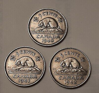 "Lot of 3: 1940,1941 and 1942 Canada 5 Cents Coins (all 100% Nickel) ""WW2 ERA"""