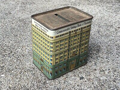 COLLECTABLE 1970s NUMBER-50 COMMONWEALTH SAVINGS BANK OF AUSTRALIA TIN MONEY BOX