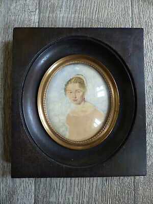 LARGE ANTIQUE MID 19th CENTURY ELEGANT LADY MINIATURE PORTRAIT 1850's