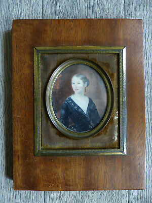 LARGE ANTIQUE 19th CENTURY ELEGANT LADY MINIATURE PORTRAIT 1830's