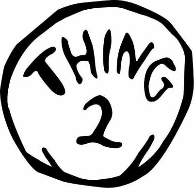 large Thing 1 and 2  # 12-7.25 x 9.75 T-shirt iron-on transfer Thing 2 ONLY