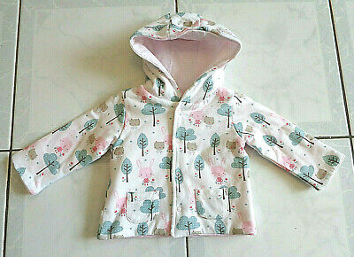 Baby Girl's White Pink & Green Sprout Coat / Jacket with Hood - Size 00