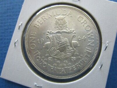 1964 BERMUDA 1 Crown Silver Large Coin.  Unc