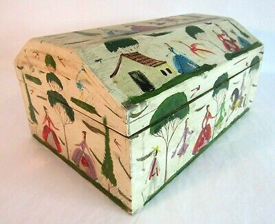 Vintage Folk Art Hand Painted Large Jewelry Trinket Box Couples Victorian Wood