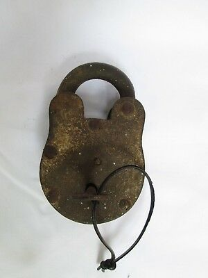 antique vintage old decorative Collectable wrought cast iron lock key working.