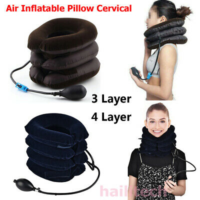 New Air Inflatable Neck Pillow Cervical Head Traction pain Relief Therapy Device