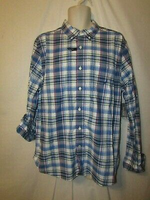 mens nautica LS button stretch shirt XL nwt $69.50 blue plaid