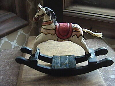 "Vtg Hand Painted Carved Wooden Rocking Horse Collectible Figurine    5"" x 6 1/2"""